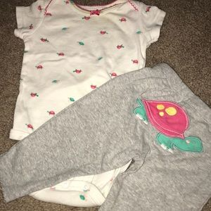 Turtle Short Sleeve Onesie and Pants Set